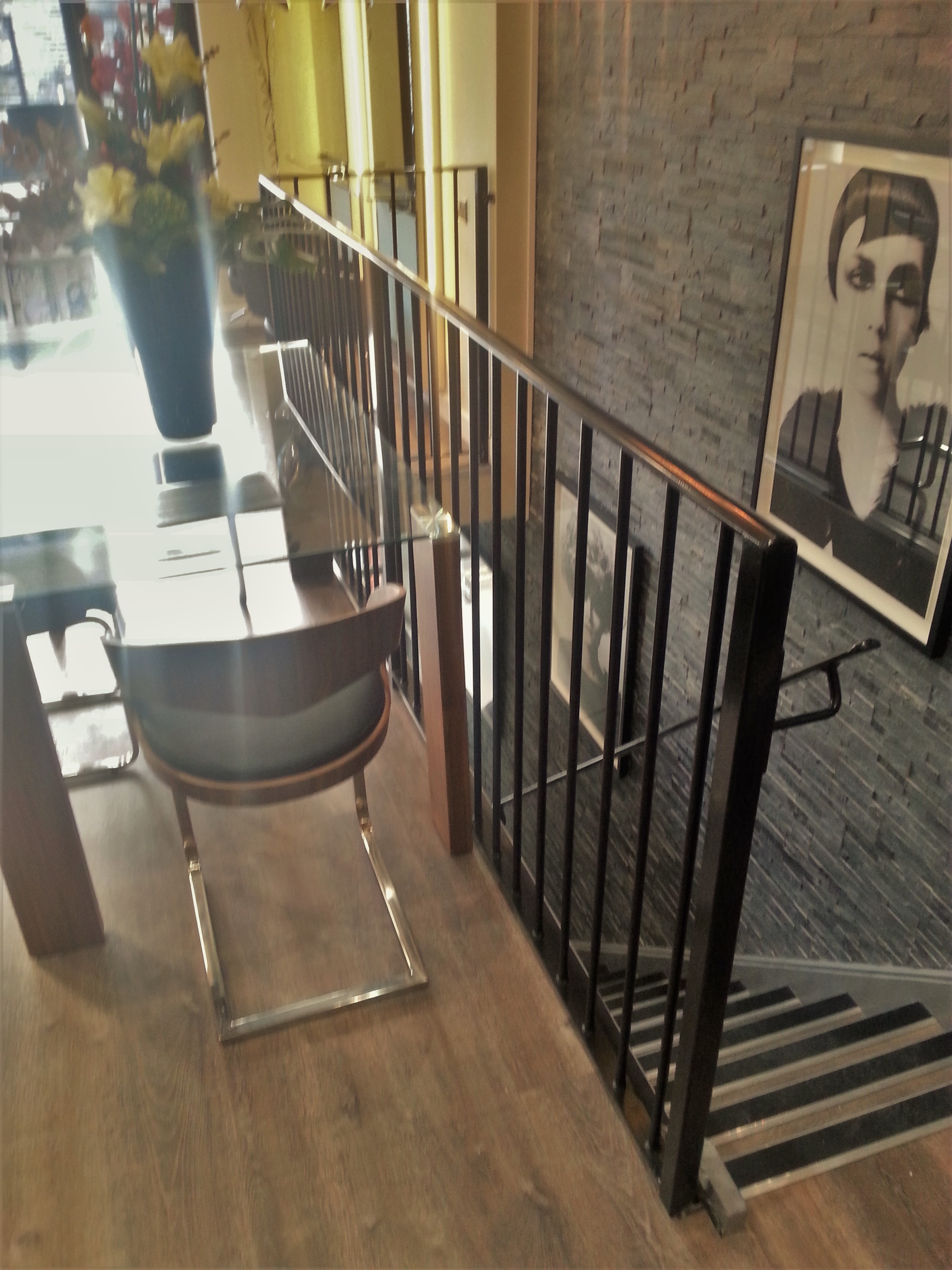 Interior metal railings