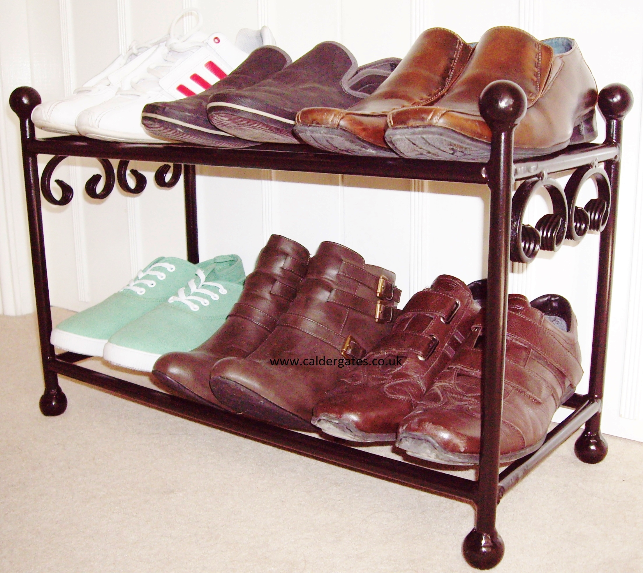 win a wrought iron shoe rack