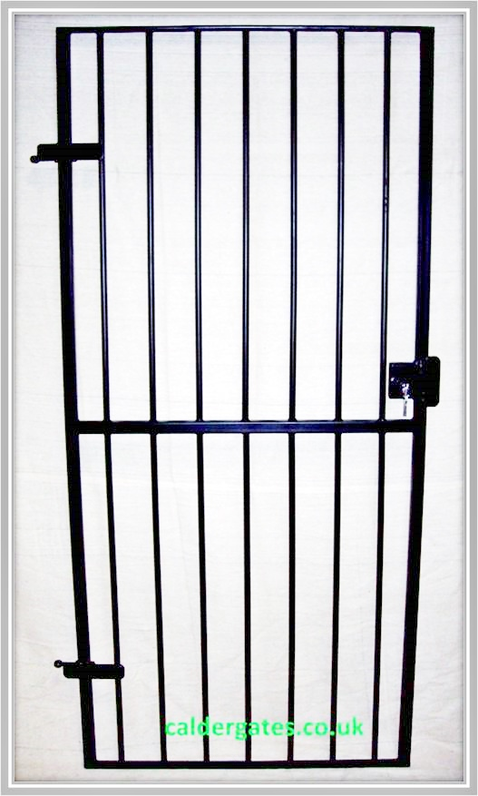 wrought iron metal security gate with keyed lock