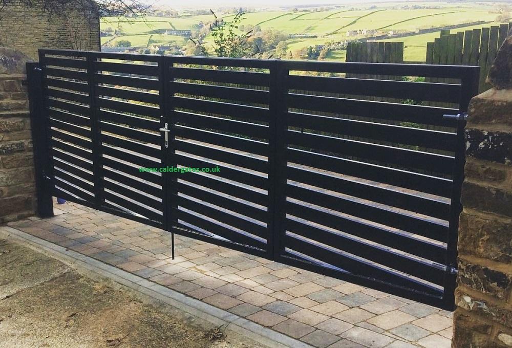 Steel Metal Panel Driveway Gate Bespoke Design