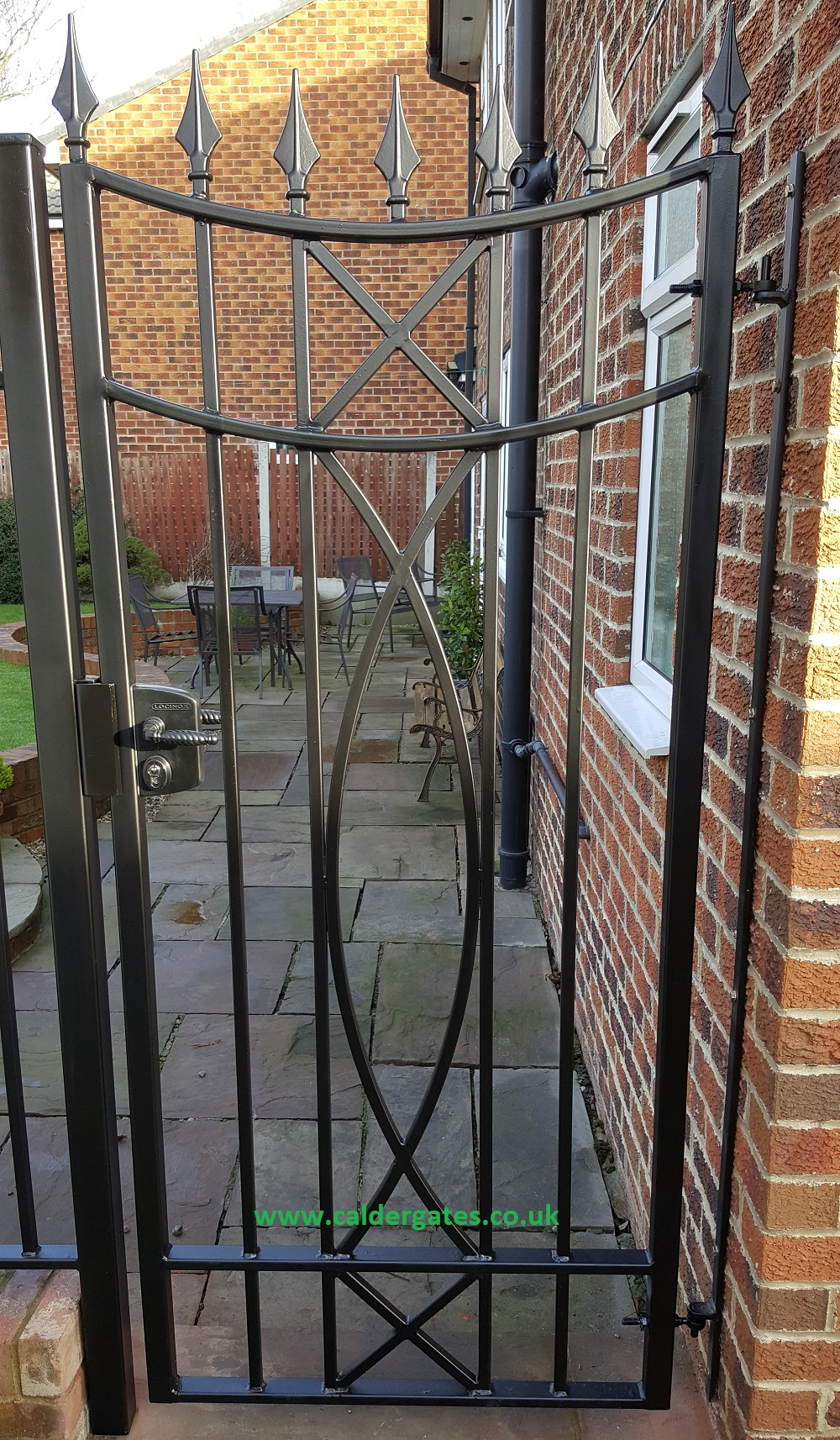 Modern metal gates with lock