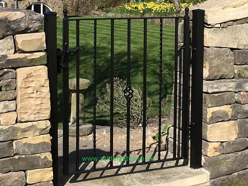 Holme wrought iron metal garden gate twisted bar design