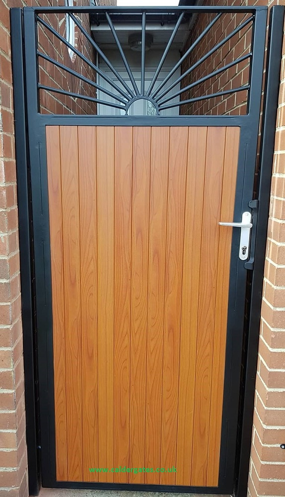 Sunrise Knotwood Aluminium Infill Steel Frame Side Gate