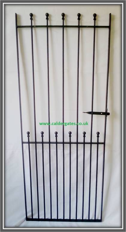 Ball Top Wrought Iron Side Entry Gate 6ft Tall Handmade