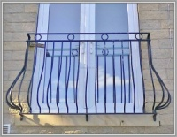 Wrought Iron Bowed Juliette Balcony
