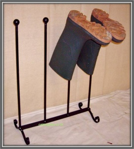 Wrought Iron Metal Welly Boot Rack -  2 Pair