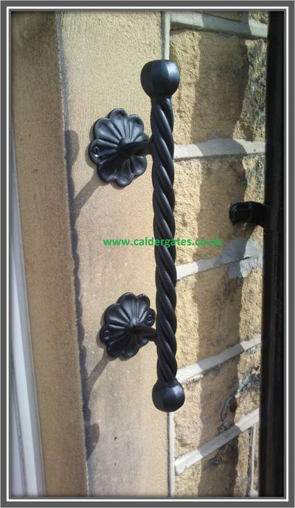 twisted wrought iron grab rail