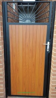 Sunrise Knotwood aluminium infill / steel frame side gate with lock