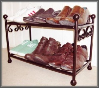 6 Pair Wrought Iron Metal Shoe Rack / Organiser